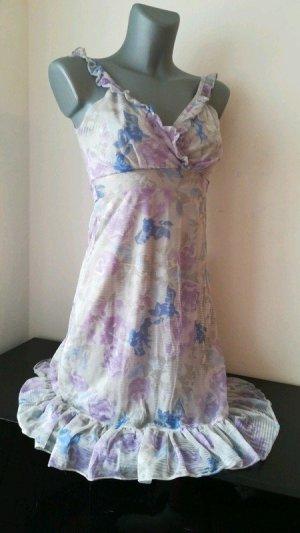 Wunderschönes Kleid Elfe von Orsay bezaubernd Empire XS 32 34 grau Pastell lila blau