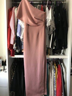 Asos Vestido de un hombro color rosa dorado