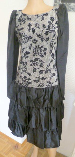 Volante jurk zwart-zilver