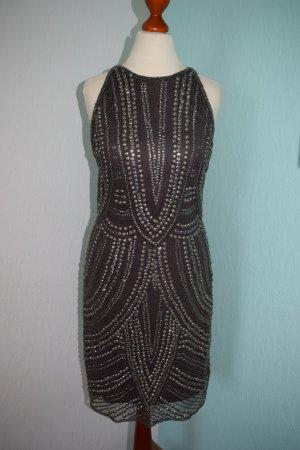 wunderschönes Kleid mit Nieten und Perlen besetzt S 36 taupe anthrazit
