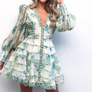 Wunderschönes Kleid S 36 NEU weiß türkis grün