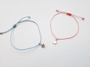 wunderschönes lachsfarbenes oder hellblaues Armband mit silberfarbenem Stern