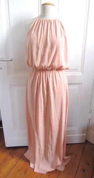Wunderschönes langes Edel Kleid von H&M Conscious Gr. 38 Rose Rosa Lachs wie Seide NEU