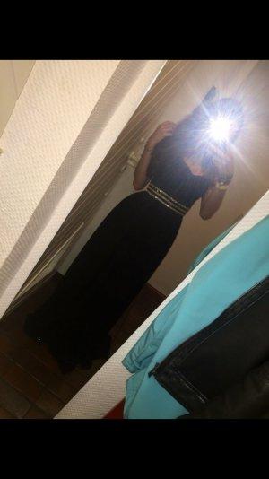 Wunderschönes langes schwarzes Kleid mit Steinchen