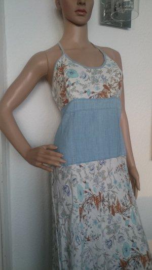 Wunderschönes Leinenkleid Maxikleid Sommerkleid Neckholder aus Baumwolle/Leinen Gr.L fällt aus wie 38
