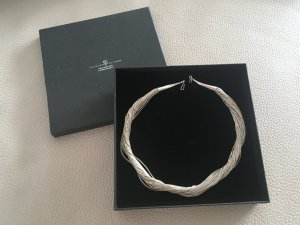 Collier Necklace light grey real silver