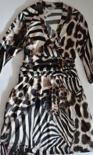 Wunderschönes Luxus San Martino Kleid Seide Raffungen braun-beige Größe 44, XXL