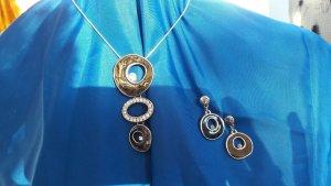 Bijou Brigitte Collier Necklace silver-colored-dark green