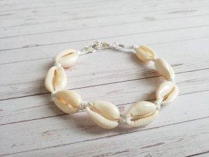 wunderschönes Muschelarmband mit weißem Band und verstellbarem Verschluss  NEU
