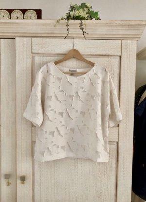H&M Top di merletto bianco sporco Poliestere