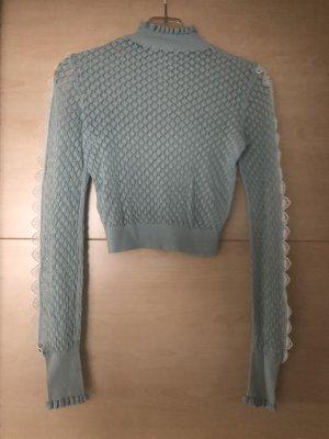 Zara Blusa de manga larga menta-blanco