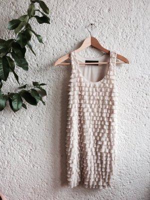 Zara Vestido estilo flounce crema-beige claro Poliéster