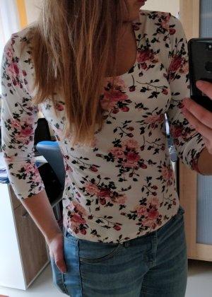 Wunderschönes rosa-weißes Blumenshirt Gr. L
