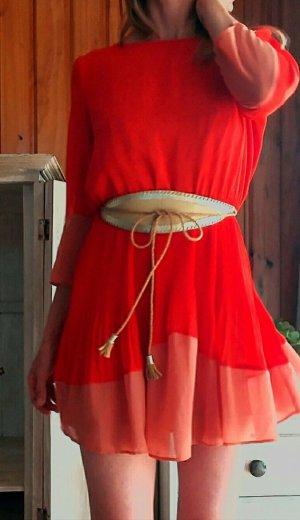 Topshop Vestido de noche rojo-albaricoque tejido mezclado