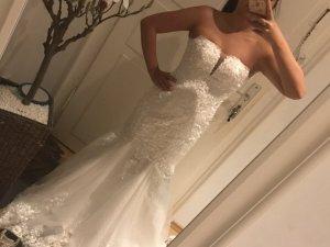 Wunderschönes Schneeweißes Glitzer Brautkleid