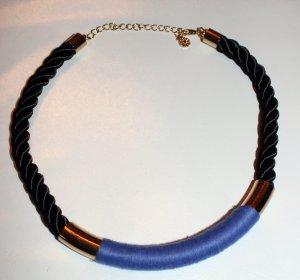 Wunderschönes schwarz gold blaues Collier / Halskette