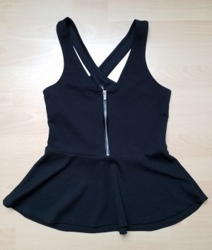 Peplum Top black-silver-colored