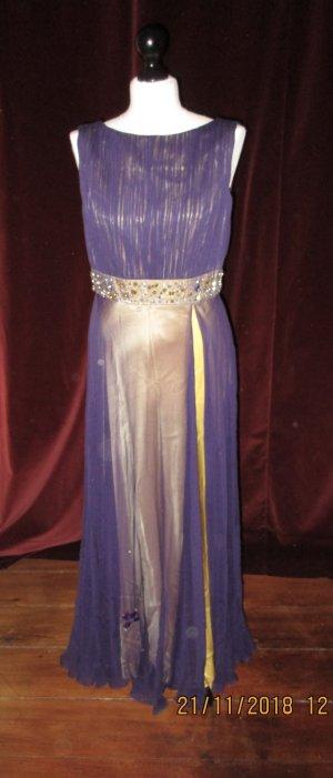 Wunderschönes, seidiges Abendkleid in Violett und Gelb