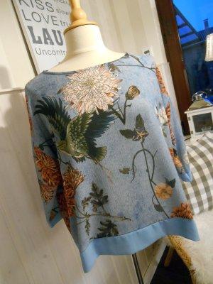 wunderschönes Shirt in jeansblau mit tollem Blumendruck New Look 2017 NEU