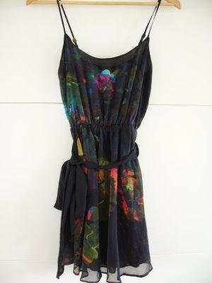 Wunderschönes Sommerkleid Babydoll floraler Print auf schwarz XS 34 H&M