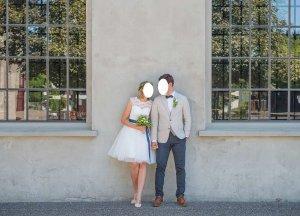 Wunderschönes Standesamtkleid Brautkleid in ivory (Tüll + Spitze) mit blauen Satinband (abnehmbar)