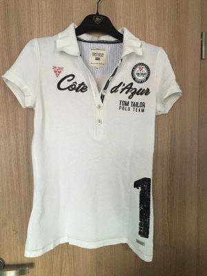 Wunderschönes Tom Tailor Polo Team Poloshirt Farbe: weiß Größe: XS
