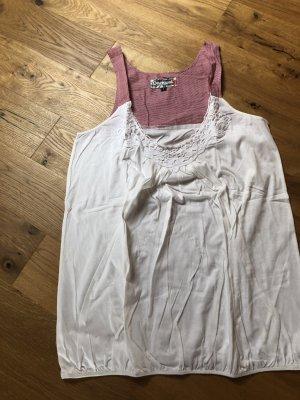 Desigual Top di merletto bianco sporco-rosso scuro