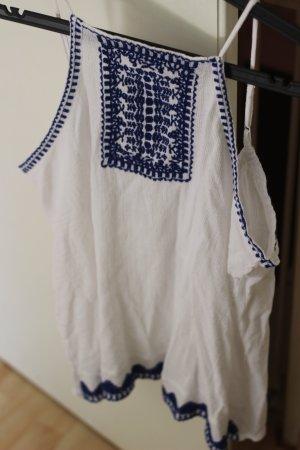 Mango Crochet Top white-blue