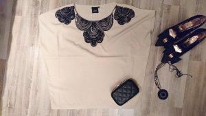Wunderschönes, topaktuelles ICHI Shirt mit schwarzer Perlstickerei