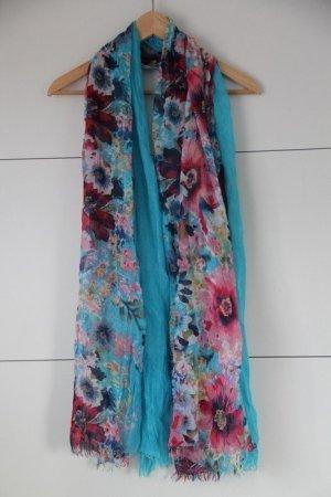 Wunderschönes Tuch türkis bunt Blumen Sommer