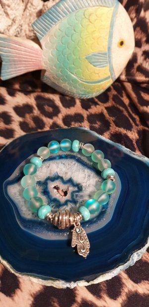 Brazalete de perlas turquesa-color plata