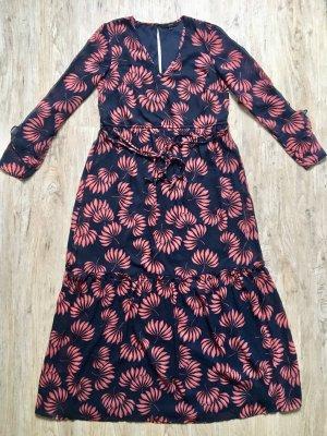 Wunderschönes Vero Moda Kleid Gr M lang blau orange Blumenmuster