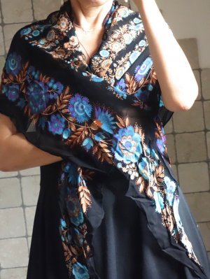 Vintage Shoulder Scarf black-neon blue viscose