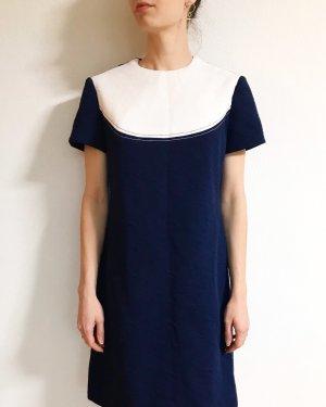 Wunderschönes Vintagekleid/ Etuikleid in blau-weiß