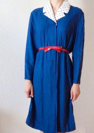 Vintage Jurk met lange mouwen blauw-wit