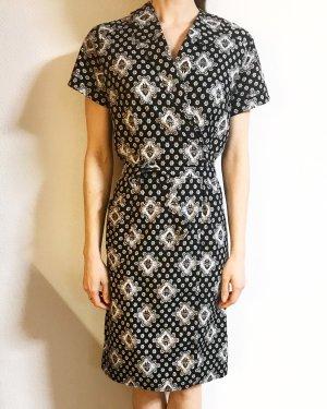 Vintage Vestido cruzado negro-blanco
