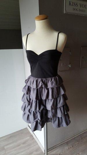 Wunderschönes Volantkleid von H&M - Gr 38 - Kleid Minikleid grau schwarz Volants
