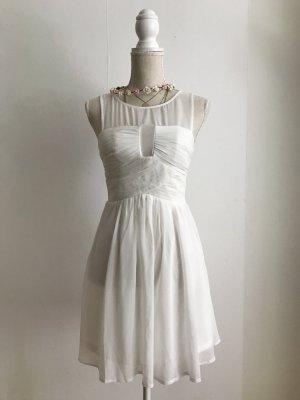 Wunderschönes weißes Kleid Abikleid in S/36/8 mit Mesh transparent NEU