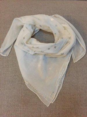 Wunderschönes weißes Tuch Baumwolle mit Sternen Silber
