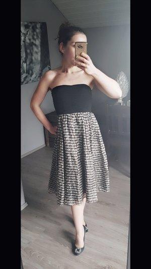 Wunderschönes Zara Basic Seidenkleid Bandeau 100% Seide Abendkleid Abiballkleid Tupfen schwarz weiß