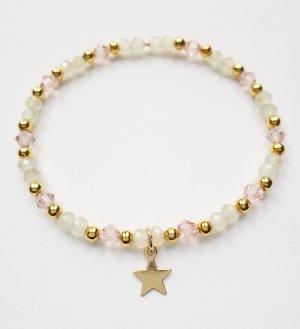 wunderschönes zartes Armband mit rosafarbenen, durchsichtigen und goldenen Perlen sowie einem goldenen Stern