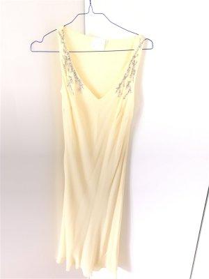 Wunderschönes zartgelbes Seidenkleid von Laurel Gr. 36 1x getragen mit Schal