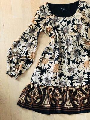Zara Woman Babydoll Dress black-cognac-coloured silk