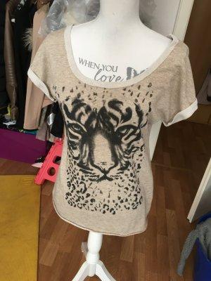 Wunderschones beige/weisses tshirt mit tigerprint