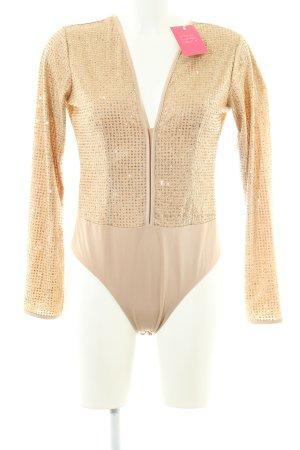 WYLDR Blusa tipo body nude-naranja claro estilo extravagante