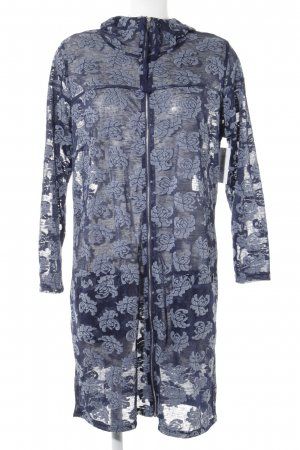 x-two Hooded Dress slate-gray-blue flower pattern casual look