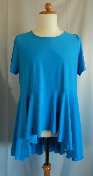 x-two Camisa tipo túnica azul neón tejido mezclado