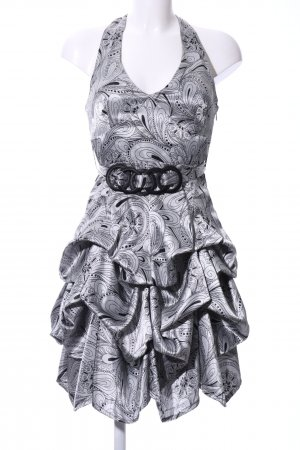 Xanaka Halter Dress silver-colored-black abstract pattern extravagant style