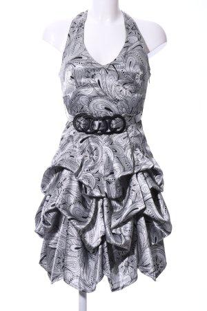 Xanaka Halterjurk zilver-zwart abstract patroon extravagante stijl