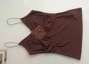 Haut à fines bretelles brun rouge-brun polyester